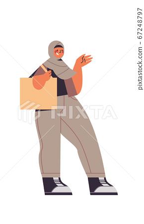 arabic woman walking in traditional clothes arab smiling girl with handbag female cartoon character 67248797