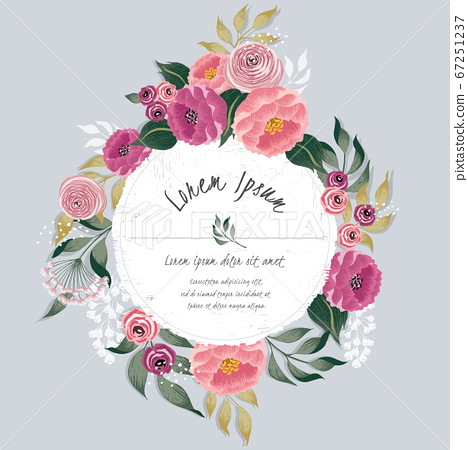 Vector illustration of a beautiful floral frame with spring flowers. Design for banner, poster, card, invitation and scrapbook 67251237