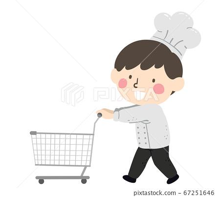 Kid Boy Chef Grocery Cart Ingredients Illustration 67251646