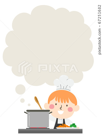 Kid Boy Chef Cooking Thinking Cloud Illustration 67251682