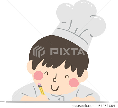 Kid Boy Chef Pencil Write Illustration 67251684