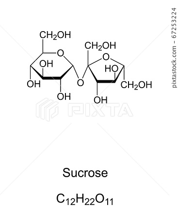 Sucrose, common sugar, chemical structure. Disaccharide composed of the two monosaccharides glucose and fructose. For human consumption it is extracted and refined from sugarcane or sugar beet. Vector 67253224