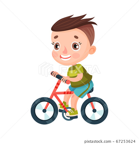 Smiling Boy Character with Dark Hair Riding Bicycle Vector Illustration 67253624