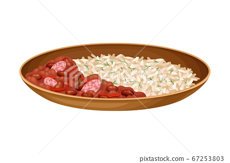 Rice with Baked Beans as Brazilian Cuisine Dish Vector Illustration 67253803