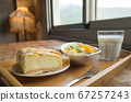 breakfast with fruit and cake 67257243