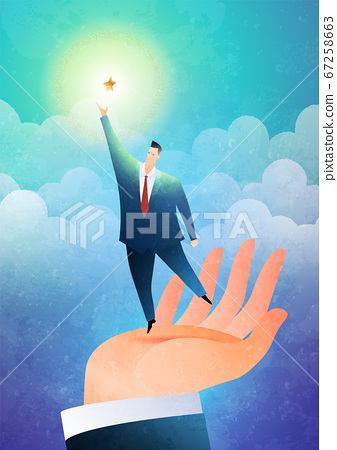 Helping hand business concept. The hand lifts the businessman to reach out for the stars. 67258663