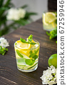 Cold cocktail with lemon, lime and mint 67259946