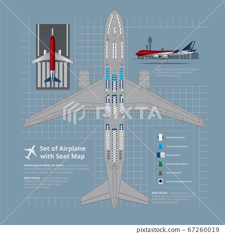 Set of Airplane with Seat Map Isolated Vector Illustration 67260019