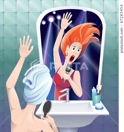 Young funny girl singing in the bathroom in front of the mirror dream being stage super star singer. Illustration for open mic night, karaoke party, funny lifestyle article, card or poster. 67265454