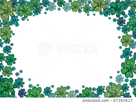 Green four leaves lucky clover frame border with free copy space for text. Saint Patrick's day celebration cards, menu, invitations or banners, presentation slide. A3 A4 A5 international paper size. 67265617