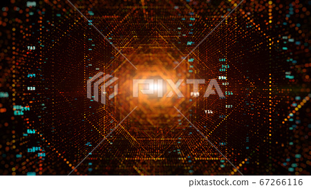 Digital tunnel of cyberspace with particles and 67266116