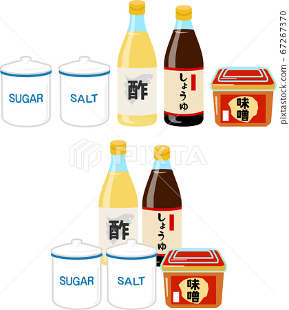 Illustration set of seasonings (sugar, salt, vinegar, soy sauce, miso) 67267370