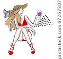 巴黎人葡萄酒泳裝帽子矢量 67267507