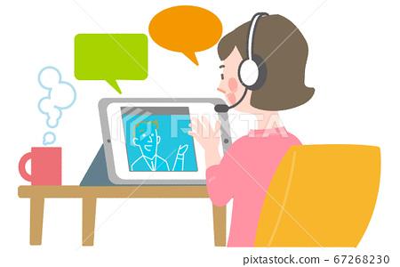 온라인 영어 회화를 배우는 여성 67268230