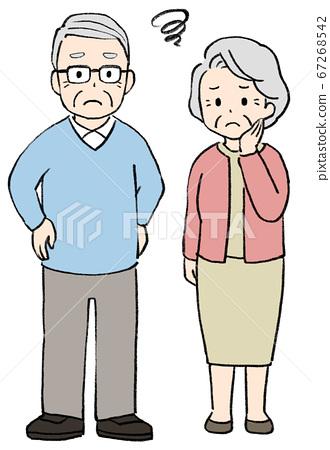 곤란 얼굴의 시니어 남녀, 노인 부부 67268542