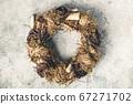 Autumn wreath on vintage background 67271702