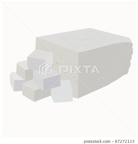 Vector stock illustration close-up of soft soy tofu cheese cut into cubes, cheese, cottage cheese, feta cheese. Isolated on a white background. Greek Asian Chinese Turkish vegetarian cooking Non-dairy 67272113