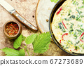 Italian omelet with herbs 67273689