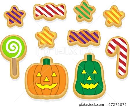 Halloween pumpkin and candy (cookie ver.) 67273875