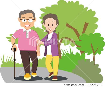 老人和高級妻子在步行實踐與背景 67274795