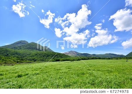 Kuju Chojabaru Tadehara濕地自然研究路的Mitsumata山,夏天色的Kuju山脈 67274978