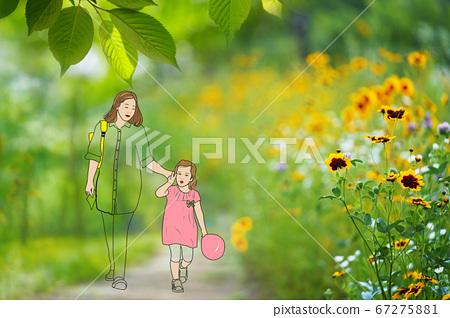 공원을 산책하는 엄마와 아이 일러스트 편집 67275881