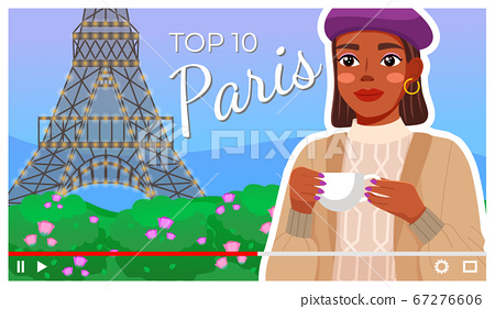 Young girl with top 10 list of Paris, frenchwoman with cup at Eiffel Tower background, videoplayer 67276606