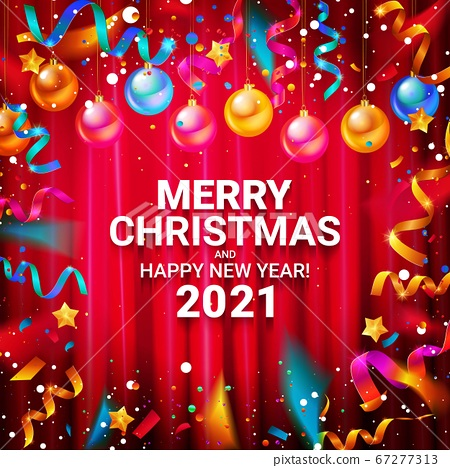 Happy new year 2021 typography vector design for greeting cards and posters with Christmas balls confetti, design template for new year celebrations. Against the curtain. 67277313