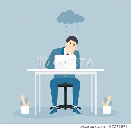 Depressed and tired businessman sitting at the desk in creative office. Flat vector illustration. 67278975