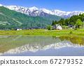 Hakuba Sanzan reflected in paddy fields at Hakuba Village, Kitaazumi District, Nagano Prefecture 67279352