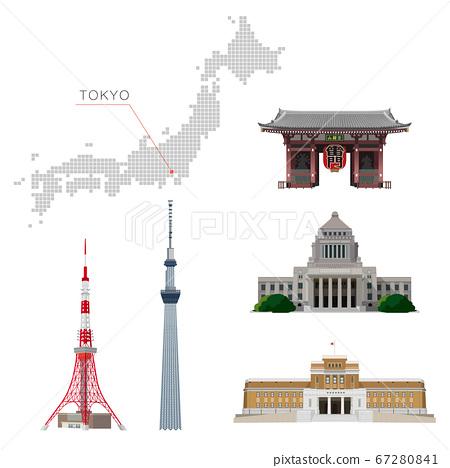 在東京的旅遊景點中的建築物的插圖 67280841