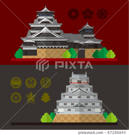 日本熊本城和唐津城的插圖 67280843