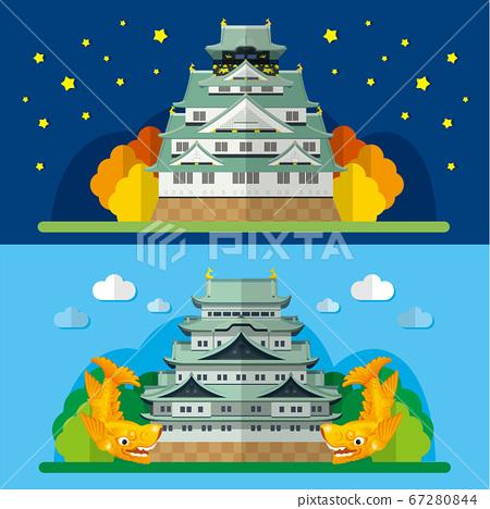 大阪城和名古屋城的日本城堡插圖 67280844