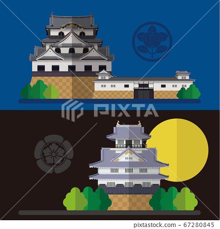 Japanese castle Hikone Castle and Gifu Castle material illustration 67280845