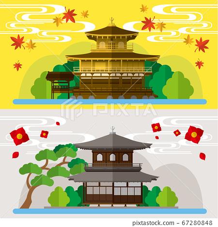 日本寺廟金閣寺和銀閣寺的素材插圖 67280848