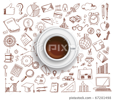 Coffee cup with set of business icons 67281498