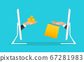 Online Shopping concept background with hand, 67281983