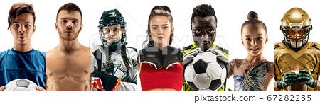 Portrait of athletes on white studio background, creative collage 67282235