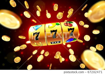Golden slot machine wins the jackpot. 67282471