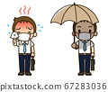 A sweaty salaryman and a salaried worker holding a parasol (with mask) 67283036