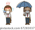 滿頭大汗的薪水工人和受薪工人拿著陽傘(帶面具) 67283037