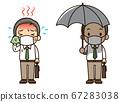 满头大汗的薪水工人和受薪工人拿着阳伞(带面具) 67283038