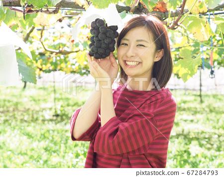 ぶどう園のぶどうに手を添える女性 67284793