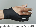 man wearing a two finger glove 67286095