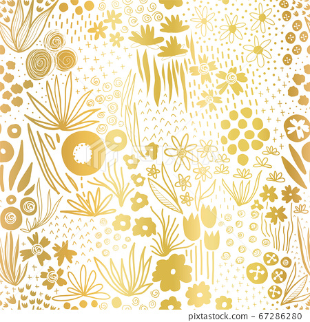 Metallic gold foil flower field on white seamless vector pattern. Repeating golden liberty doodle 67286280