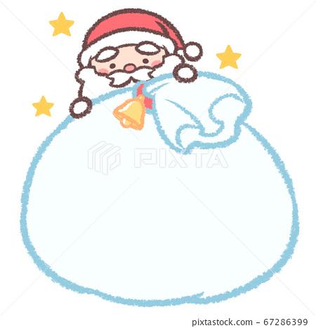 聖誕老人和聖誕老人的袋子和星星 67286399