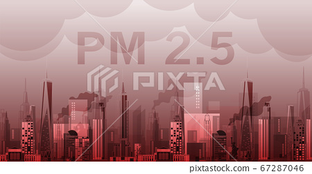 PM2.5 in city background architectural with drawings of modern for use web, magazine or poster vector design. 67287046