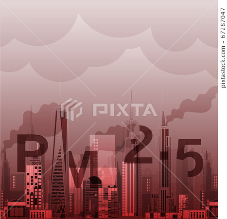 PM2.5 in city background architectural with drawings of modern for use web, magazine or poster vector design. 67287047