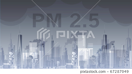 PM2.5 in city background architectural with drawings of modern for use web, magazine or poster vector design. 67287049