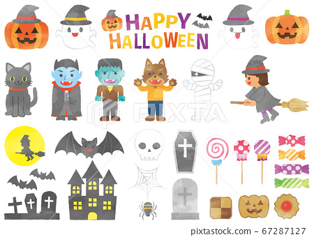 Set of watercolor style illustrations, materials and icons for Halloween 67287127